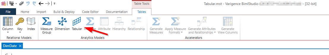 Use table in SSAS tabular model
