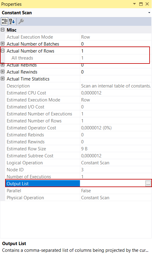 Constant Scan Operator in a SQL Server insert statement execution plan