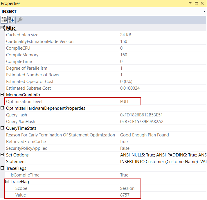 How to disable TRIVIAL query plans for SQL Server insert statements