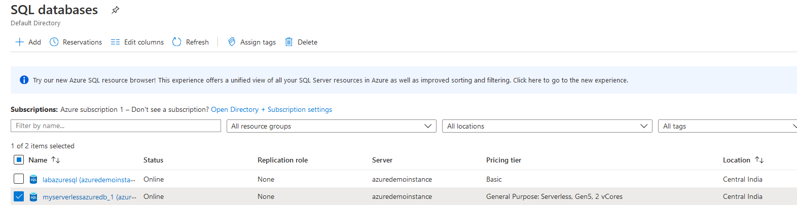 Refresh Azure portal