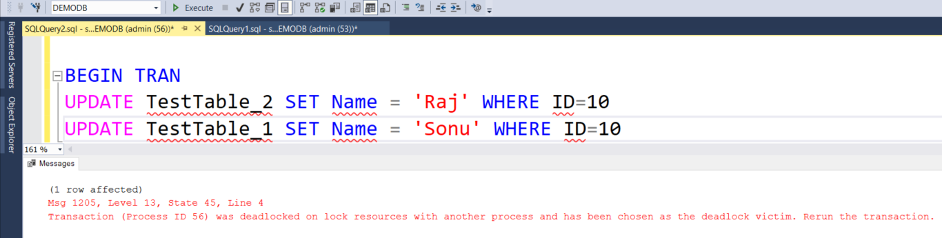Simulate a deadlock for RDS database