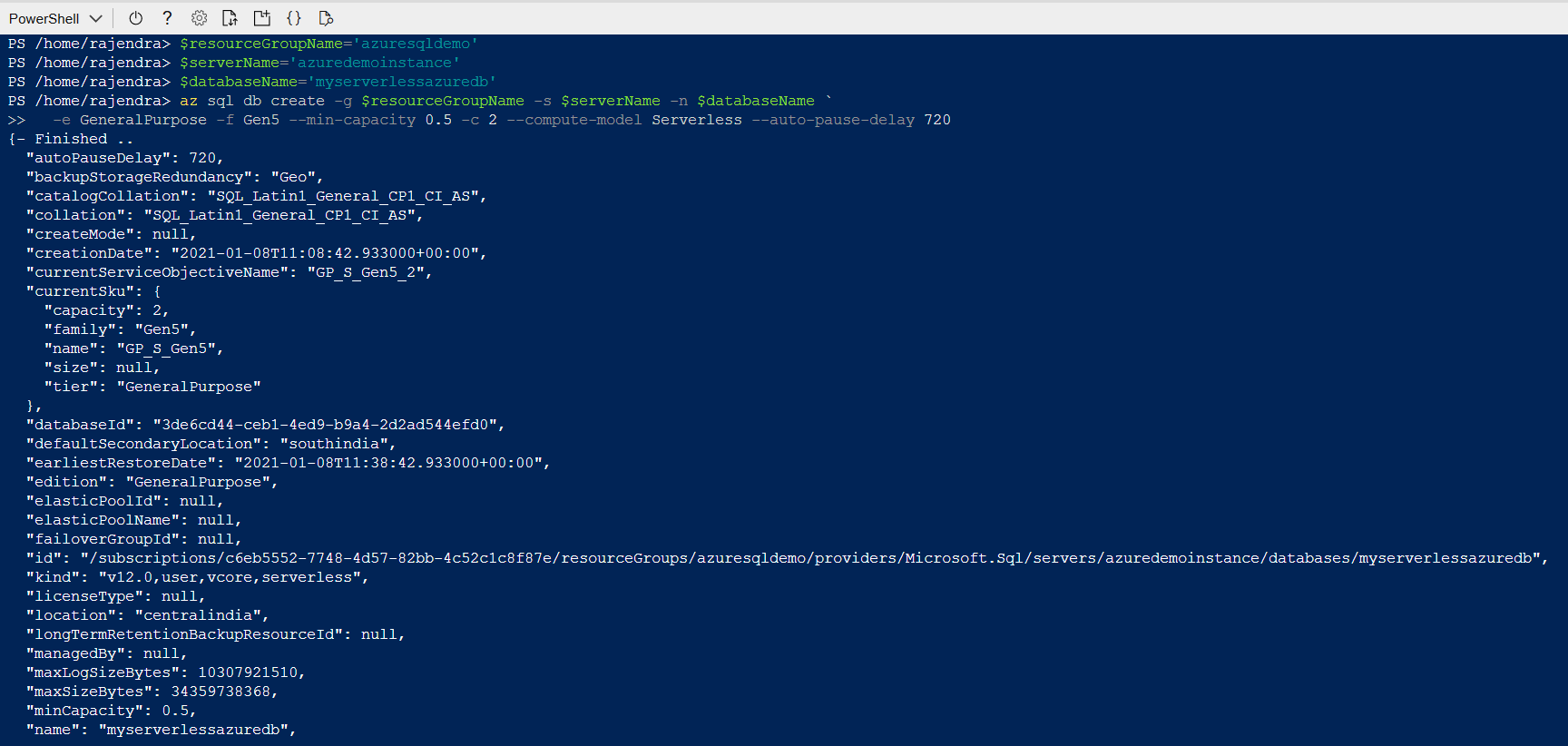 SQL Database using Azure CLI