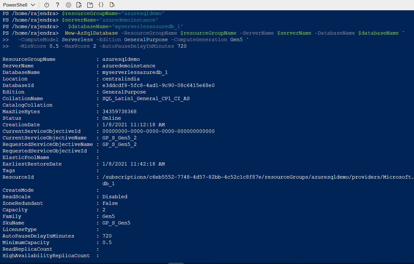 SQL Database using Azure PowerShell